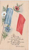 Petite Carte Tricolore / Religion Et Guerre / Chant D'épée / Drapeau Et Fleurs Bleu Blanc Rouge - Unclassified