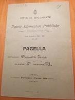 GALLARATE-PAGELLA-ANNO SCOLASTICO 1920-1921 - Diplomi E Pagelle