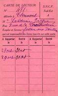 VP11.945 - Blbliothèque De CLERMONT FERRAND - Carte De Lecture De La S.N.C.F - Cartes