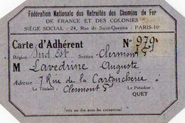 VP11.949 - CLERMONT FERRAND X PARIS - Fédération Nationale Des Retraités Des Chemins De Fer - Carte D'Adhérent - Cartes