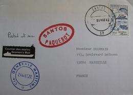 """LOT A28 - ✉ - CIE GENERALE MARITIME - PAQUEBOT """" ZAMBEZE """" - SANTOS PAQUEBOT - COURRIER DES MARINS - CàD : SANTOS SP - Maritime Post"""