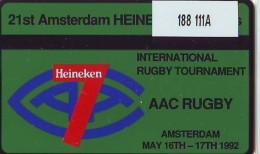 Telefoonkaart  LANDIS&GYR  NEDERLAND * RCZ.188  111A * Heineken Sevens * RUGBY * TK *  ONGEBRUIKT * MINT - Sport
