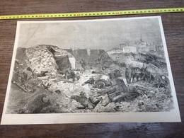 1870/1871 GRAVURE DEMOLITION DES BATTERIES FRANCAISES SUR LE MONT AVRON - Colecciones