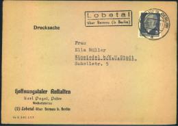 """196+4, """"""""Lobetal über Bernau (b. Berlin)"""""""", Poststellenstempel Glasklar Auf Drucksache. - Spoon Et White"""