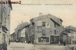 BOURG-ARGENTAL RUE DE LA REPUBLIQUE ET DE LA GARE 42 - Bourg Argental