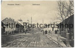 Foto AK Pruzana Russland Schloßstrasse Strassenbild Markthalle Ca. 1916 Kirche Pruschany Belarus Pruzhany - Guerra 1914-18