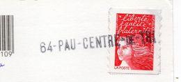"""Griffe Linéaire """" 64--PAU --CENTRE DE TRI """" Type Marianne De Luquet Sur Carte Moderne BIARRITZ-64 - Marcophilie (Lettres)"""