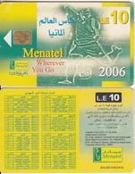 EGYPT - Football 2006, Wherever You Go, Menatel Telecard 10 L.E., CN : 343, Chip Incard 4, Used - Egypt