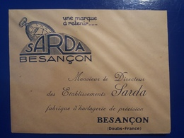 ENVELOPPE SARDA  BESANCON DOUBS FRANCE - Jewels & Clocks