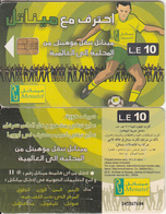 EGYPT(chip) - Football Player(matt Surface), Menatel Telecard 10 L.E., Chip Incard 4, CN : 345(thick), Used - Egypt