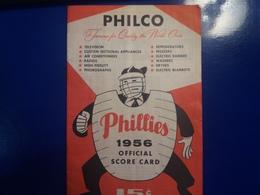PHILCO  PHILLIES 1956 OFFICIAL SCORE GARD - Autres