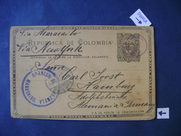 COLOMBIA - POSTAL TICKET VIA MARACAIBO (VENEZUELA) TO HAMBURG (GERMANY) IN THE STATE - Colombia