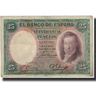 Billet, Espagne, 25 Pesetas, 1931-04-25, KM:81, B - [ 2] 1931-1936 : Repubblica
