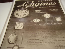 ANCIENNE PUBLICITE MONTRE LONGINES 1916 - Gioielli & Orologeria