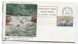 CANOE-KAYAK (Yv. N° 1609) 1er Jour; Flamme Concordante . BOURG SAINT-MAURICE / 1969 - 1960-1969