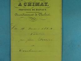 Acte Notarié 1854 Vente Seutin De Frasnes à Coulonval De Vaulx /6/ - Manuscrits