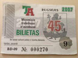 Lithuania Litauen Monthly Trolleybus  Ticket Vilnius 09-2007 - Europe