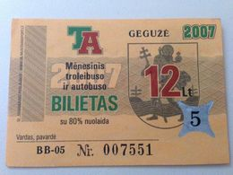 Lithuania Litauen Monthly Trolleybus  Ticket Vilnius 05-2007 - Europe