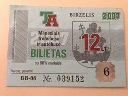 Lithuania Litauen Monthly Trolleybus  Ticket Vilnius 06-2007 - Europe