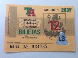 Lithuania Litauen Monthly Trolleybus  Ticket Vilnius 12-2007 - Europe