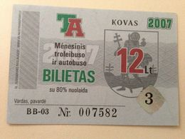 Lithuania Litauen Monthly Trolleybus  Ticket Vilnius 03-2007 - Europe