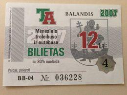 Lithuania Litauen Monthly Trolleybus  Ticket Vilnius 04-2007 - Europe