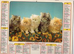 ALMANACH  DES PTT 1980 EDITION   LAVIGNE  CHATS CHIEN - Calendars