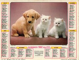 ALMANACH  DES PTT 1982   EDITION   LAVIGNE  CHATS CHIEN - Calendars
