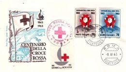 Fdc Roma: CROCE ROSSA 1963; No Viaggiata; Con Erinnofilo - F.D.C.