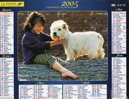 ALMANACH  DU FACTEUR  2005  EDITION   LAVIGNE   ENFANT CHIEN - Calendars