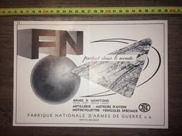 PUB PUBLICITE FN FABRIQUE NATIONALE D ARMES DE GUERRE HERSTAL - Vecchi Documenti