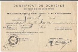 Certificat De Domicile Pour L'accès à La Zone Côtière Interdite - Documenti Storici