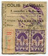RC 8436 MADAGASCAR ETIQUETTE DE COLIS FAMILIAL RECOMMANDÉ DE TANANARIVE - Madagascar (1889-1960)