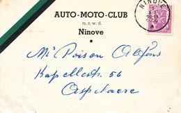 AUO MOTO CLUB NINOVE  1950   Uitnodiging Souper - Ninove