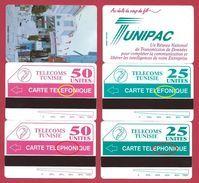 BAZAR Et TUNIPAC 4 Cartes Dont Erreur TELEFONIQUE Variété MINT URMET NEUVE Mistake - Tunisie