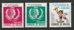 Bolivia 1986 International Youth Year, 1985 3v Mnh - Bolivia