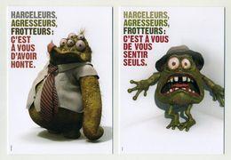 Lot De 2 CP Publicitaires Neuves - Régie Transport Tisséo Toulouse - Campagne Anti Agressions Sexuelles - Ansichtskarten