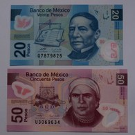 MEXIKO - MEXICO 20 + 50 Pesos 2006 + 2009 Polymer UNC Pick 122/3  (21141 - Billetes