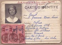 2123# CARTE D' IDENTITE TIMBRES FISCAUX Obl MONTOIRE SUR LOIR ET CHER 1940 Née à LA GUERCHE DE BRETAGNE ILLE ET VILAINE - Fiscaux