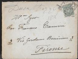 STORIA POSTALE REGNO - ANNULLO TONDO RIQUADRATO FIRENZE SU LETTERA PER CITTA' 23.09.1898 - Storia Postale