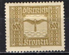 AUSTRIA - 1922 - ALLEGORIA DEL VOLO - MH - Ungebraucht