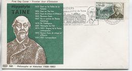 TAINE  (Yv. N° 1475) 1er Jour; Flamme SECAP Concordante . VOUZIERS / 1966 - FDC