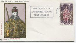 CHARLEMAGNE  (Yv. N° 1497) 1er Jour; Flamme SECAP Concordante . NOYON/ 1966 - FDC