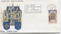 TOURS (Yv. N° 1525) 1er Jour; Flamme SECAP Concordante .  1967 - FDC