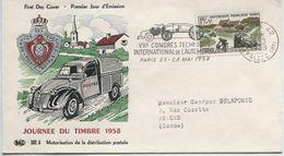 JOURNEE DU TIMBRE 1958 (Yv. N° 1151) 1er Jour; Flamme  SECAP Concordante .PARIS/ 1958 - 1950-1959