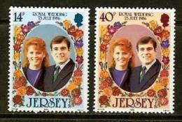 JERSEY, 1986, Mint Never Hinged Stamp(s), Royal Wedding, Sarah & Andrew, 386-387 , M4294 - Jersey
