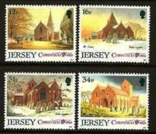 JERSEY, 1988, Mint Never Hinged Stamp(s), Christmas Churches, 453-456, M4301 - Jersey