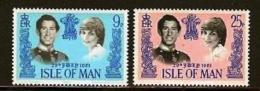 ISLE OF MAN, 1981, Mint Never Hinged Stamp(s), Royal Wedding, Diana & Charles, 194-195, M6476 - Isle Of Man