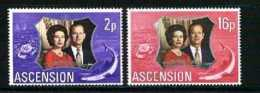 ASCENSION, 1972, Mint Never Hinged Stamp(s), Wedding Anniversary, 164-165, M2050 - Ascension