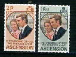 ASCENSION, 1973, Mint Never Hinged Stamp(s), Wedding Anne & Mark, 177-178, M2051 - Ascension